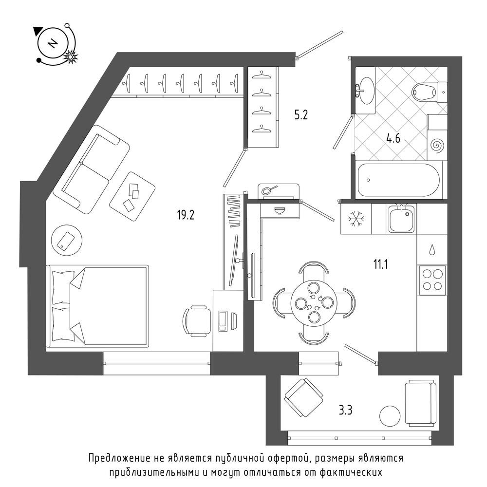 планировка однокомнатной квартиры в ЖК «Эталон на Неве» №25