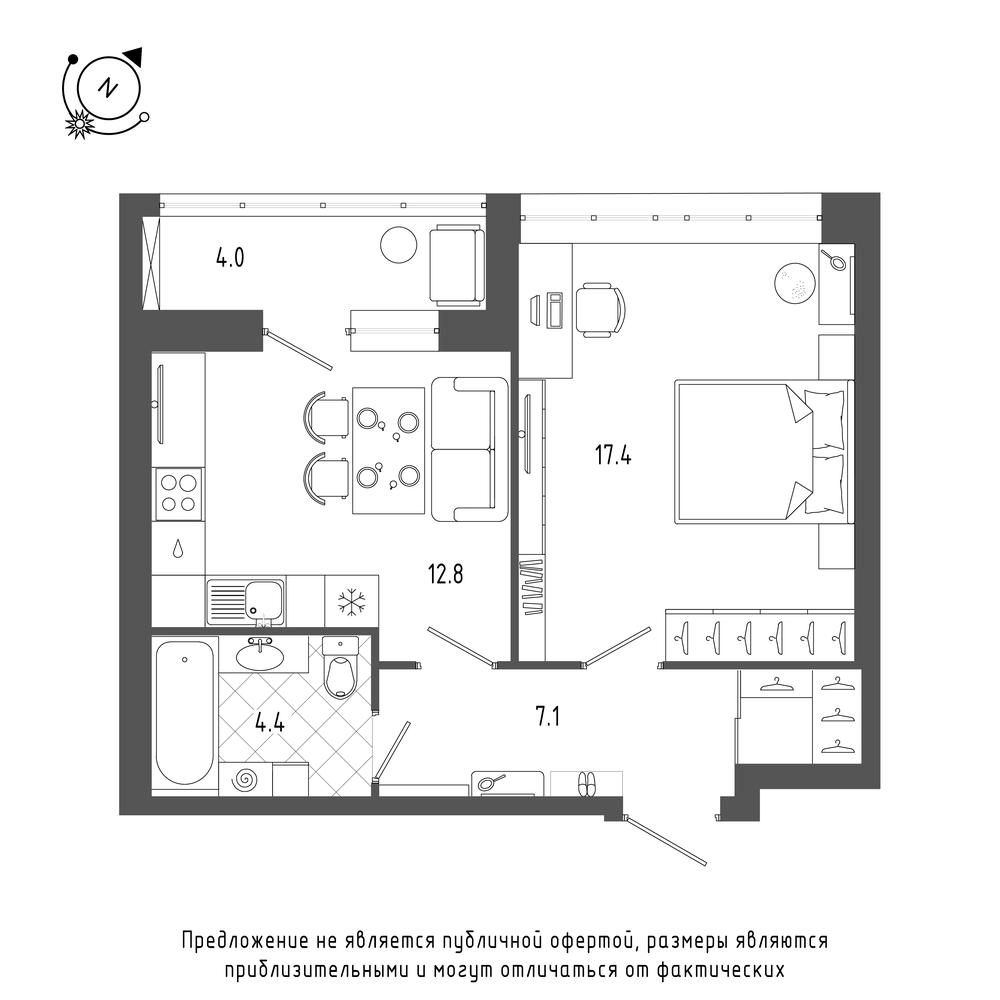 планировка однокомнатной квартиры в  №205