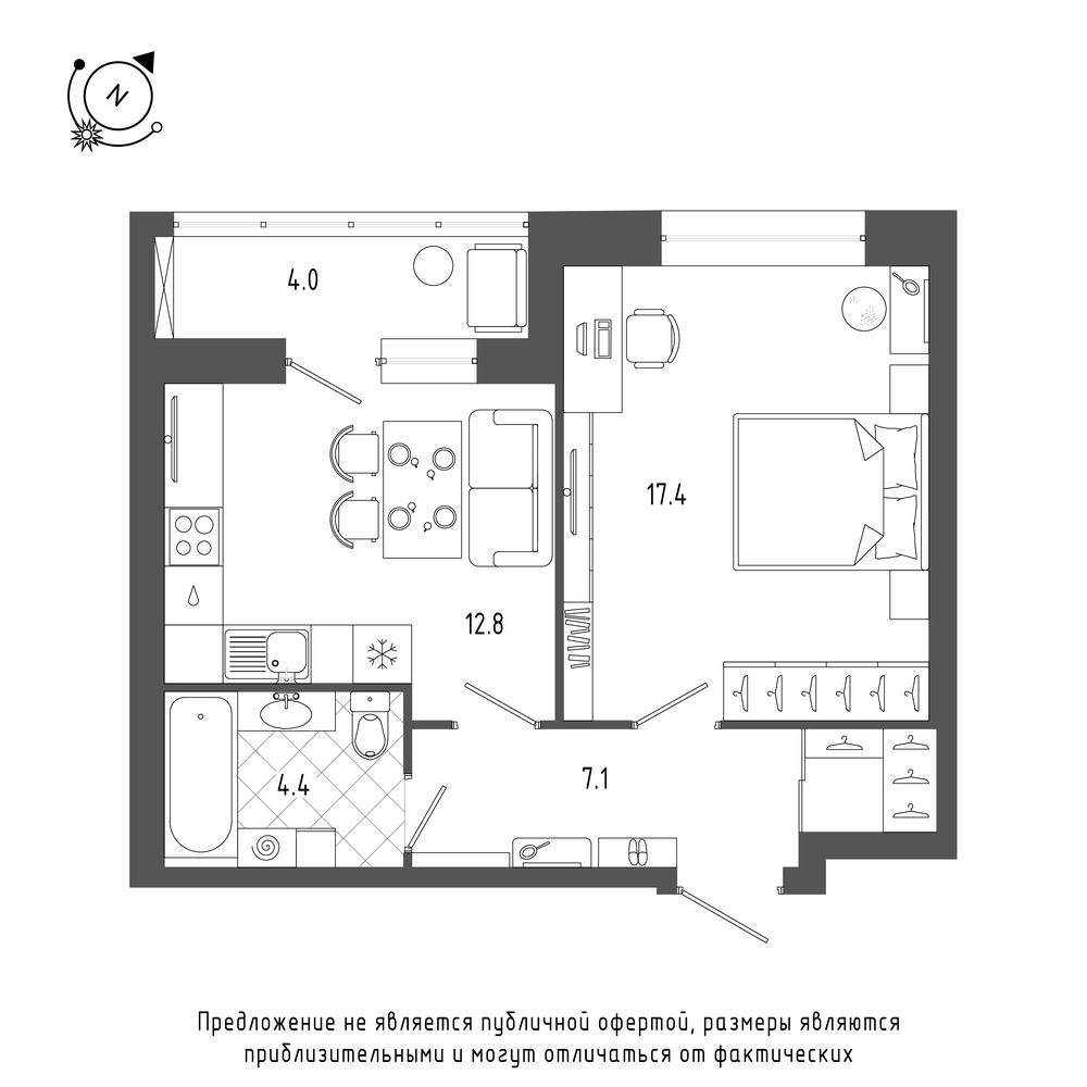 планировка однокомнатной квартиры в ЖК «Эталон на Неве» №192