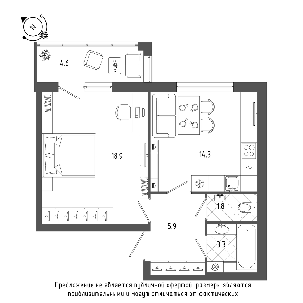 планировка однокомнатной квартиры в  №30