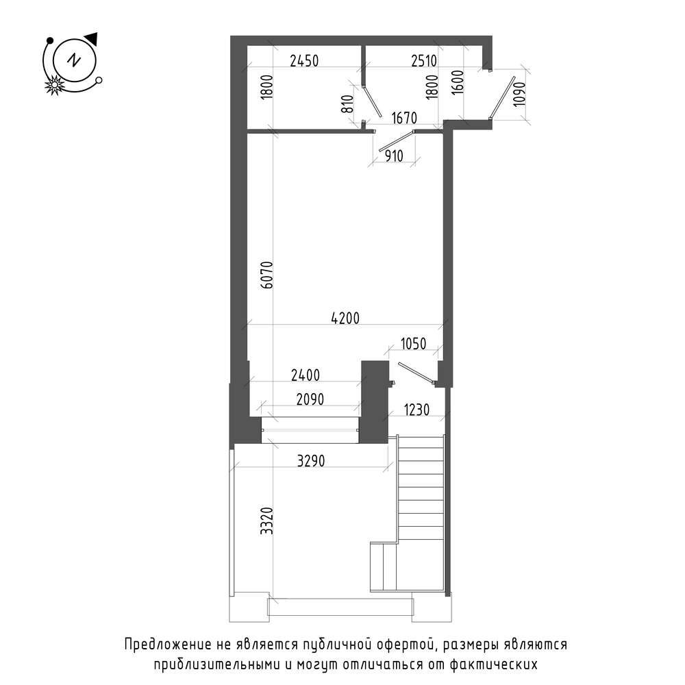 планировка квартиры студии в ЖК «Эталон на Неве» №128