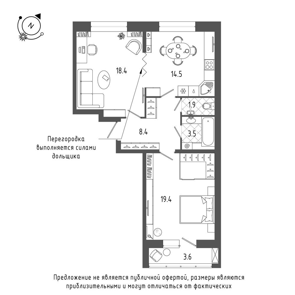 планировка двухкомнатной квартиры в  №98