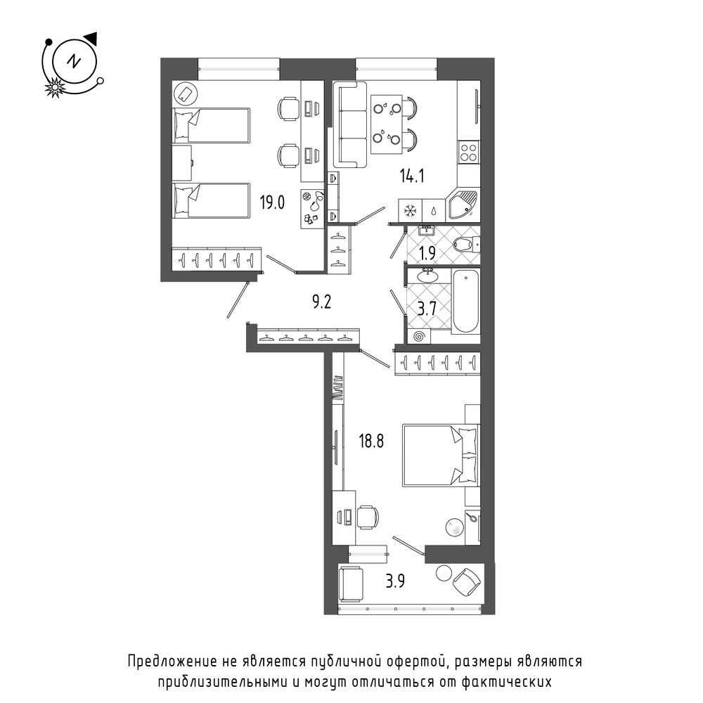 планировка двухкомнатной квартиры в  №124