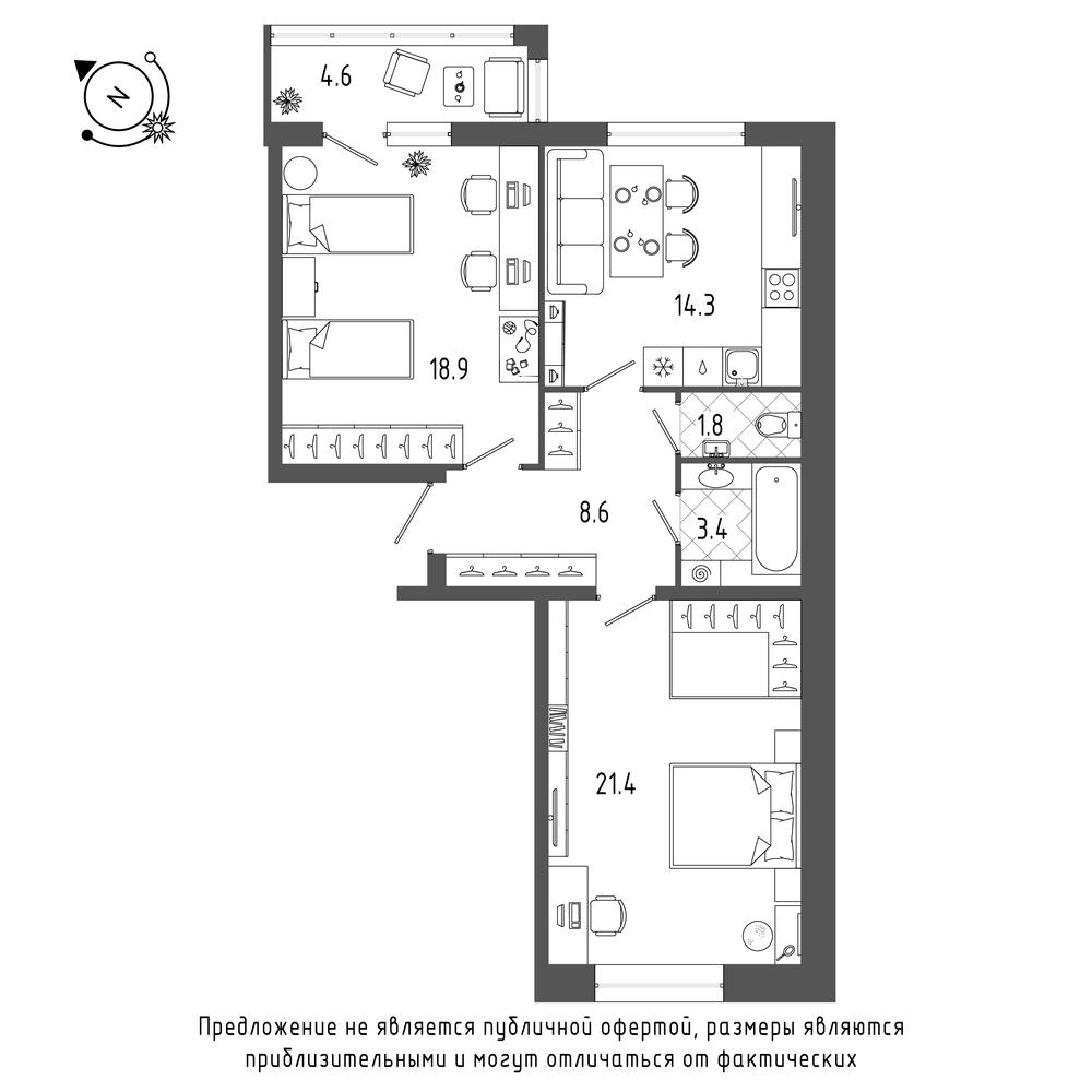 планировка двухкомнатной квартиры в  №12