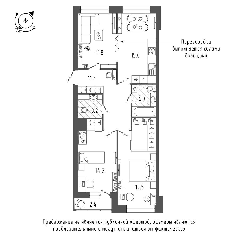 планировка трехкомнатной квартиры в  №27