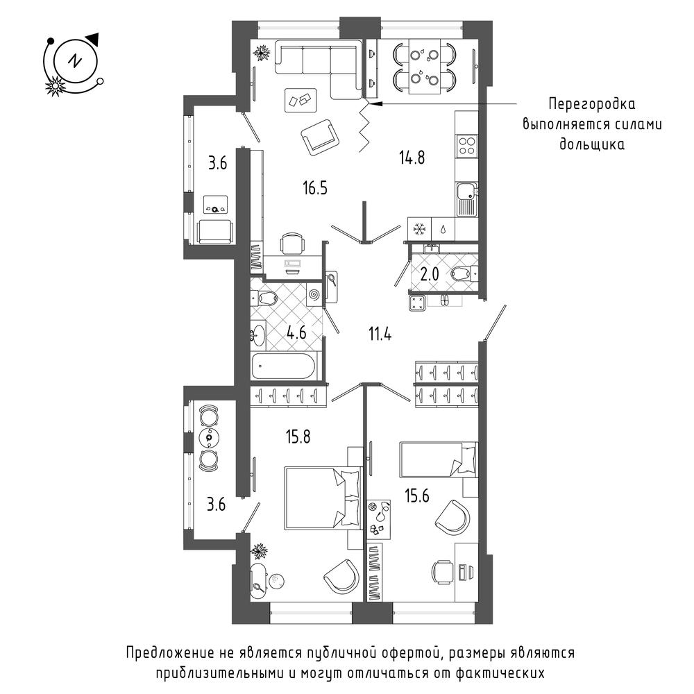 планировка трехкомнатной квартиры в  №88
