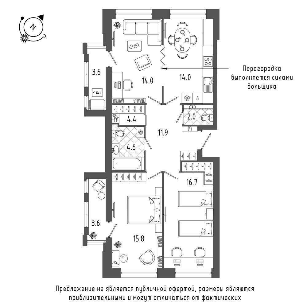 планировка трехкомнатной квартиры в  №116