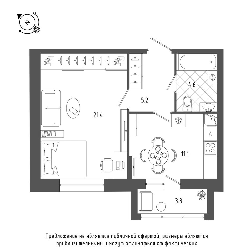 планировка однокомнатной квартиры в  №22