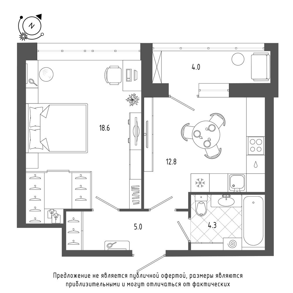 планировка однокомнатной квартиры в  №200