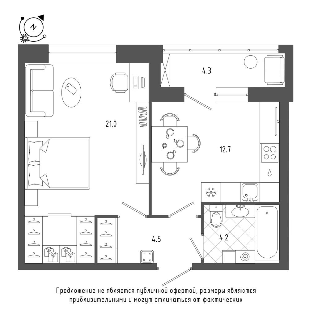 планировка однокомнатной квартиры в  №118