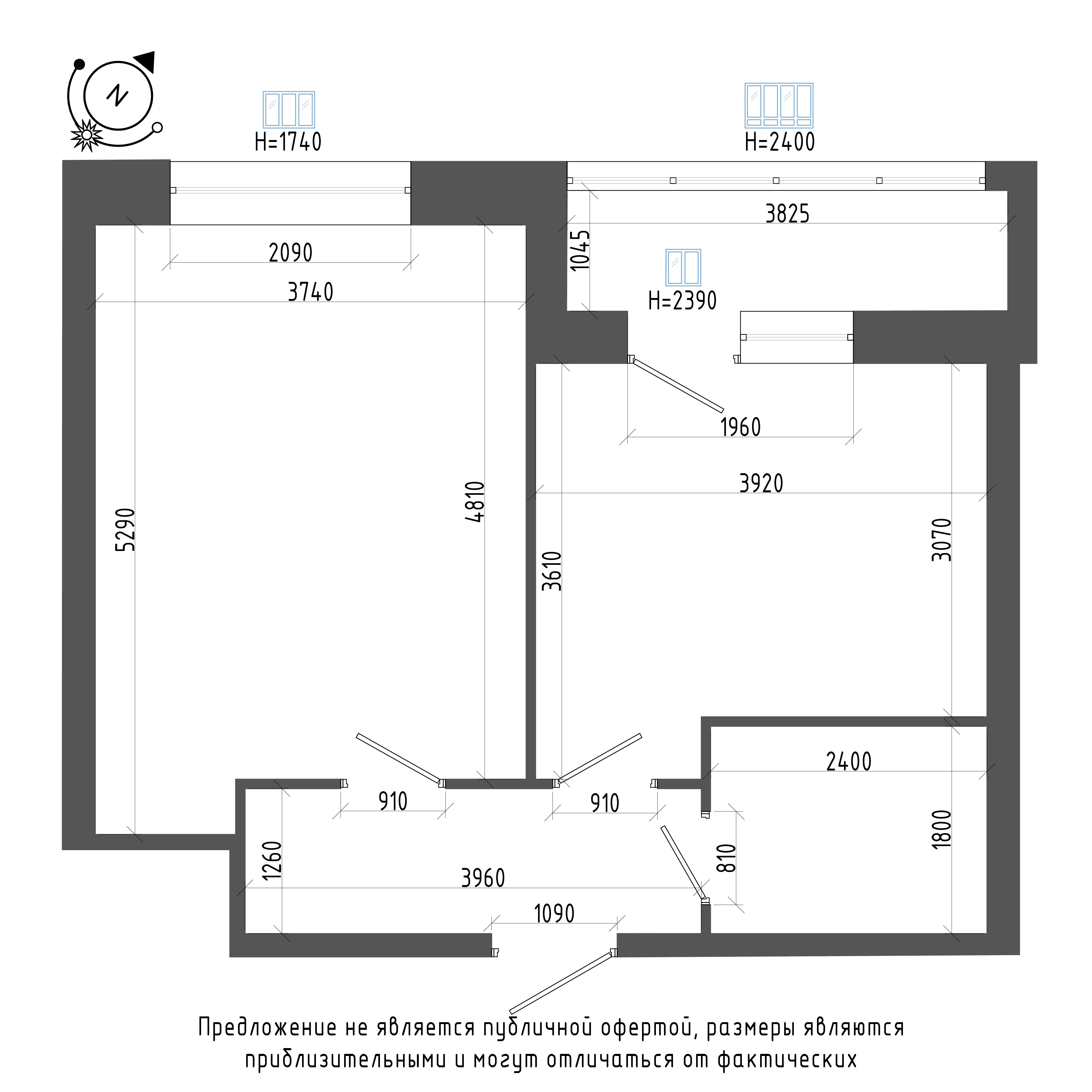 планировка однокомнатной квартиры в ЖК «Эталон на Неве» №158