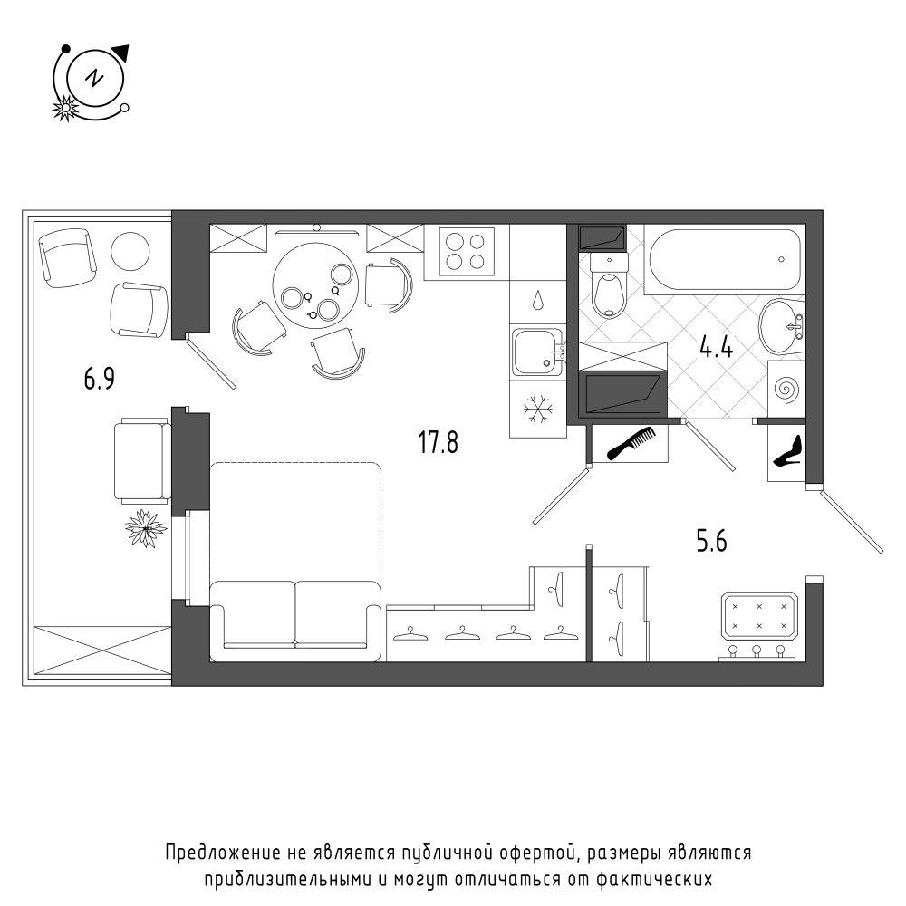 планировка квартиры студии в  №157