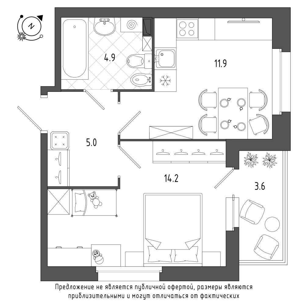 планировка однокомнатной квартиры в  №211