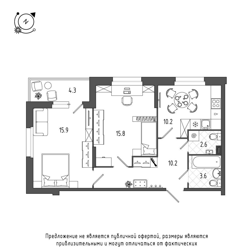 планировка двухкомнатной квартиры в  №71