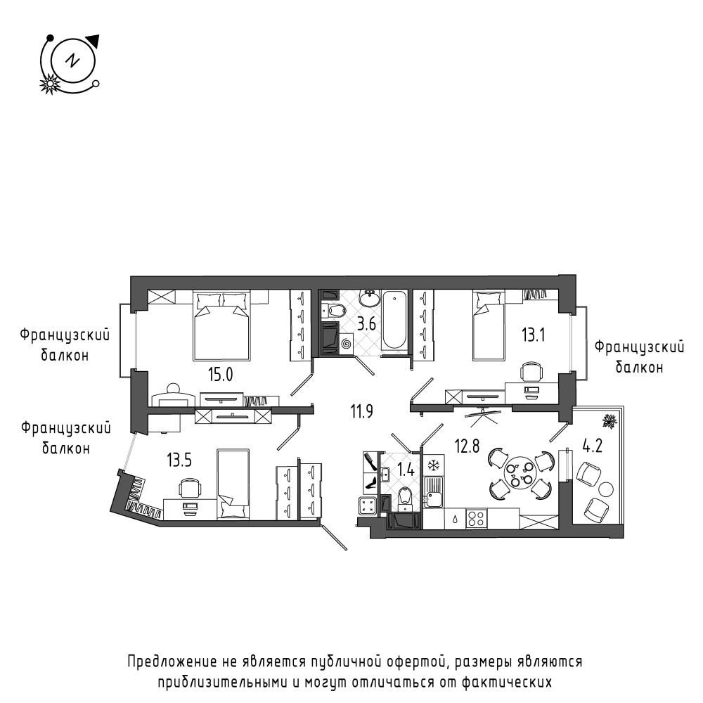 планировка трехкомнатной квартиры в  №45