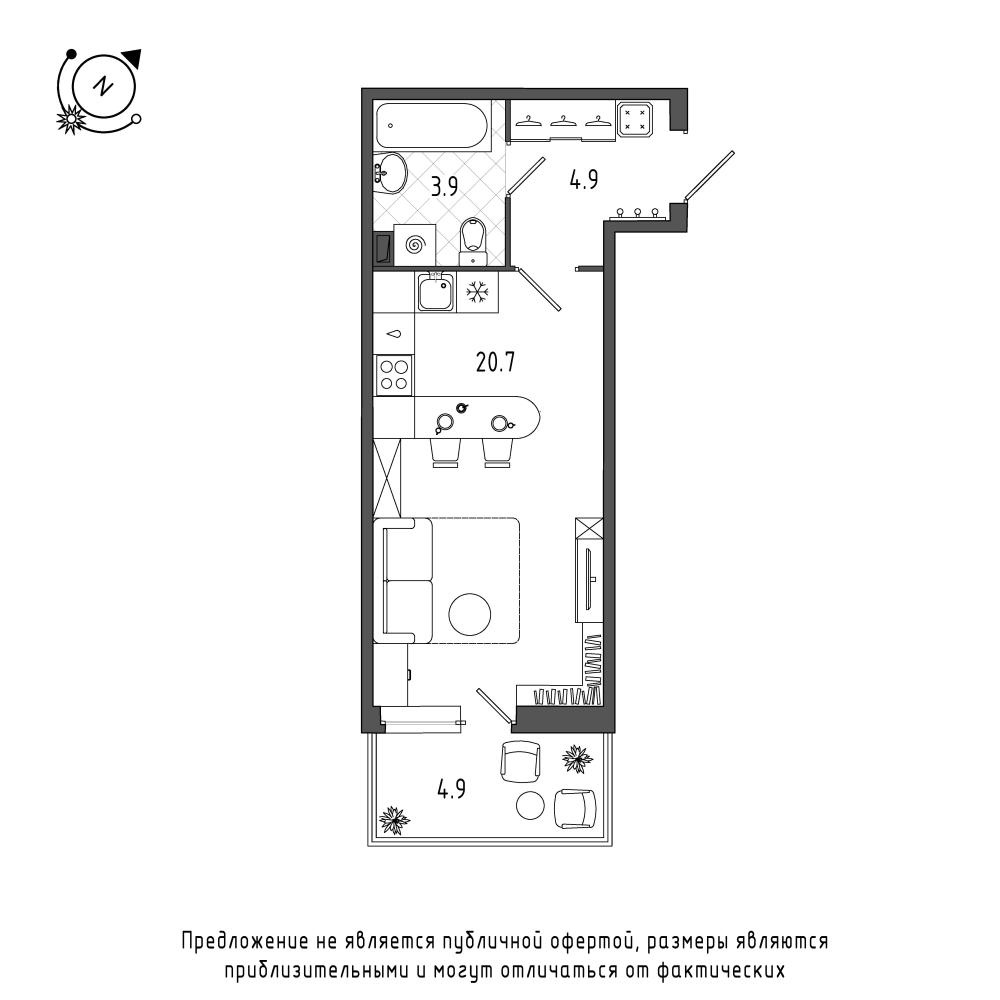 планировка квартиры студии в  №38