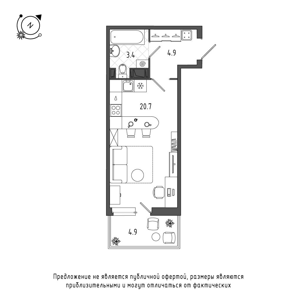планировка квартиры студии в  №58