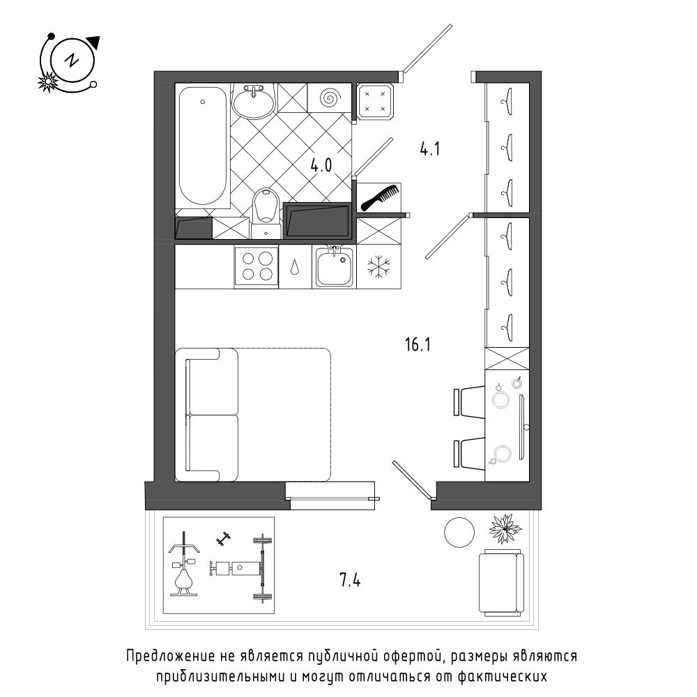 планировка квартиры студии в  №119