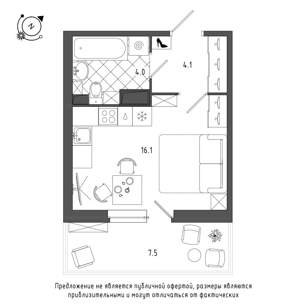 планировка квартиры студии в  №115
