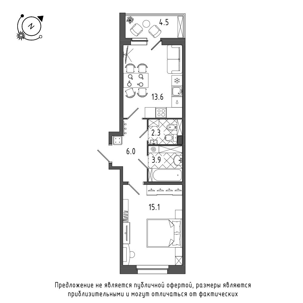 планировка однокомнатной квартиры в  №132