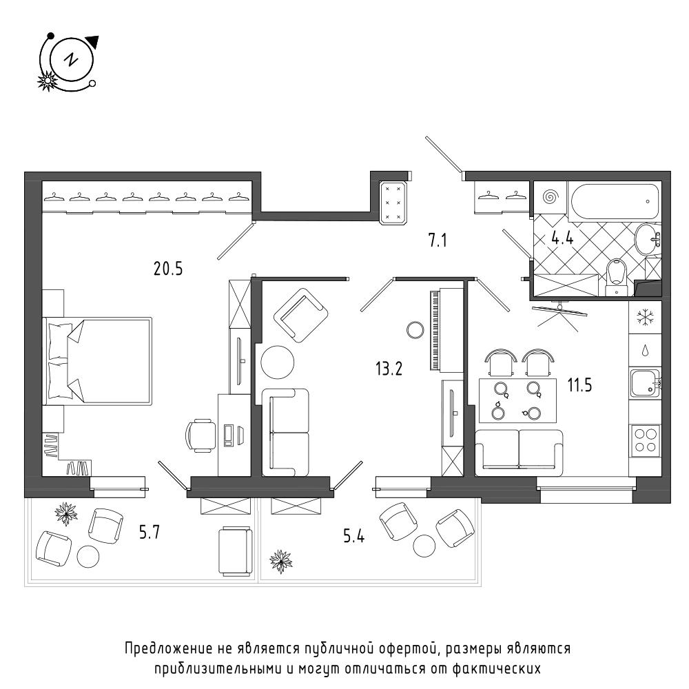 планировка двухкомнатной квартиры в  №133