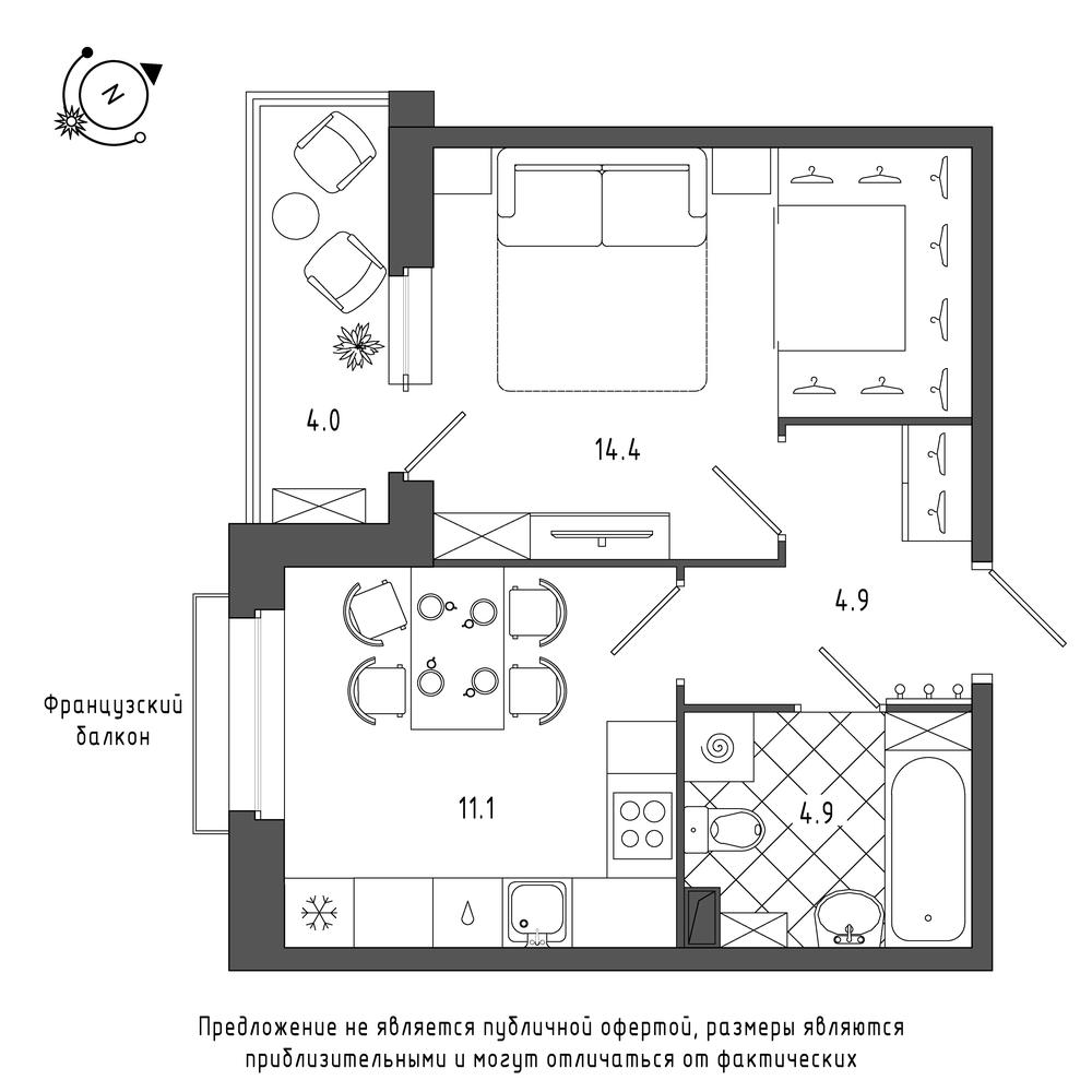 планировка однокомнатной квартиры в  №1