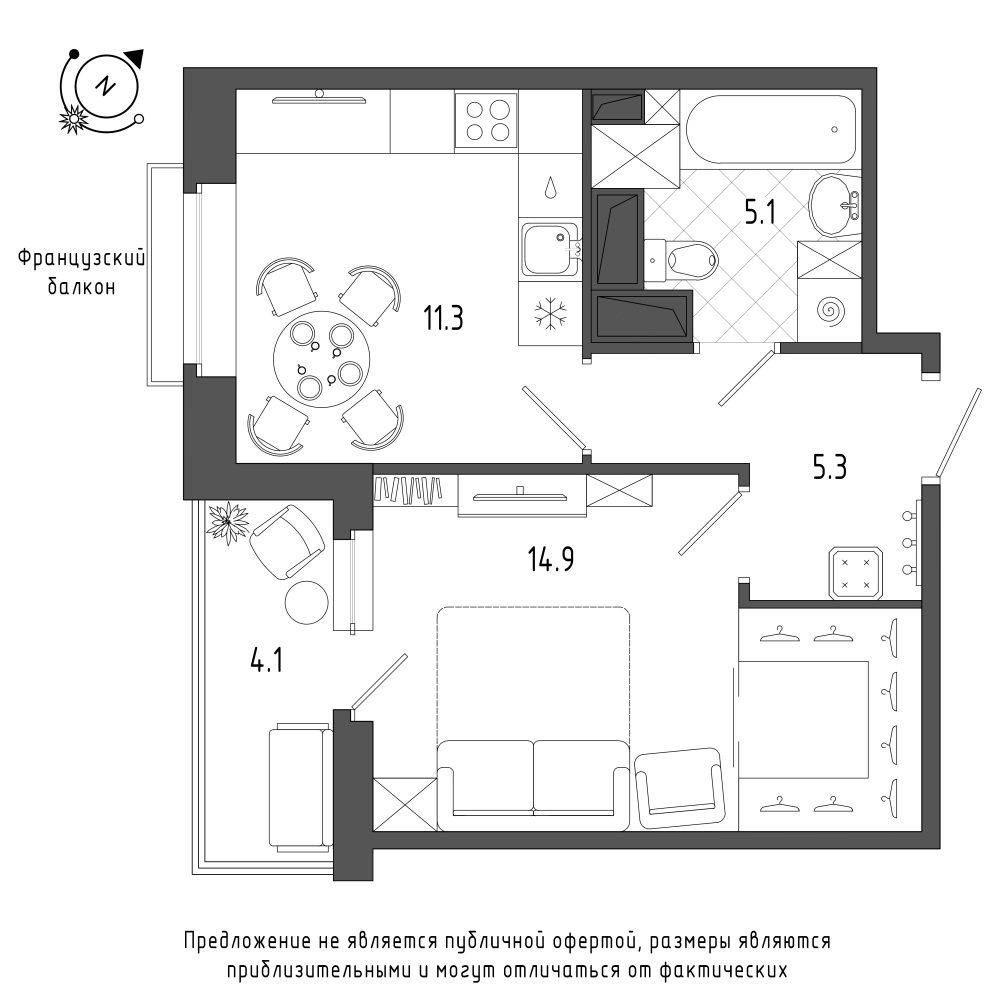 планировка однокомнатной квартиры в  №114