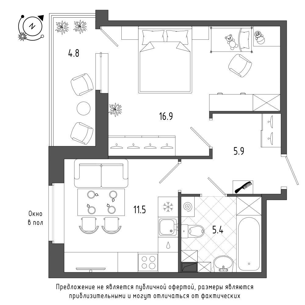 планировка однокомнатной квартиры в  №147