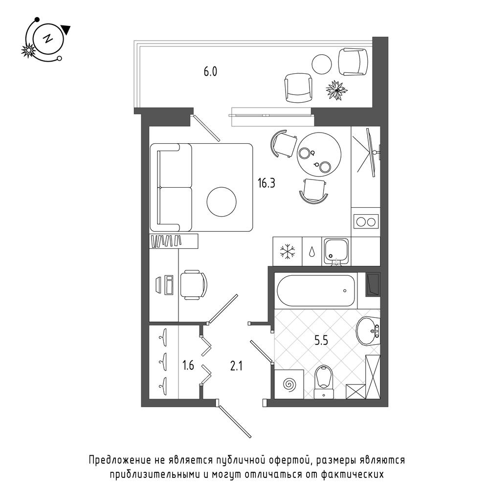 планировка квартиры студии в  №123