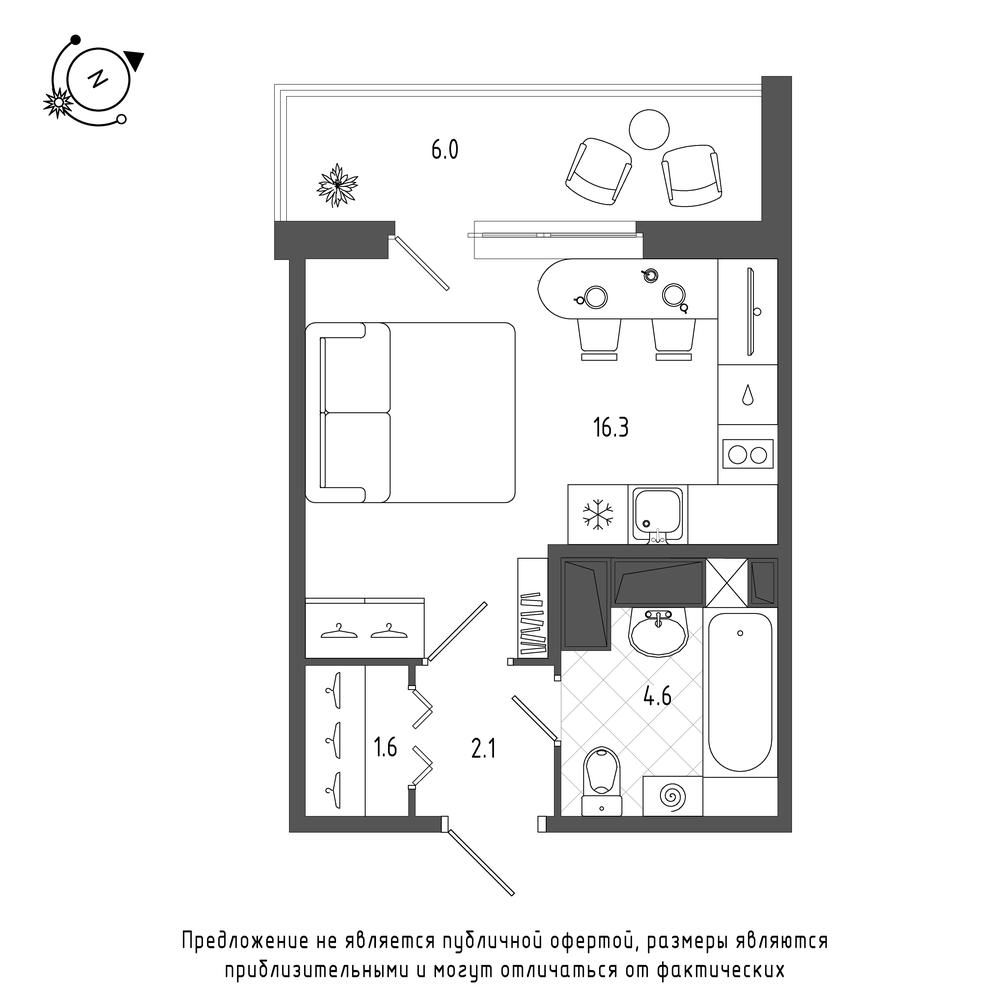 планировка квартиры студии в  №129