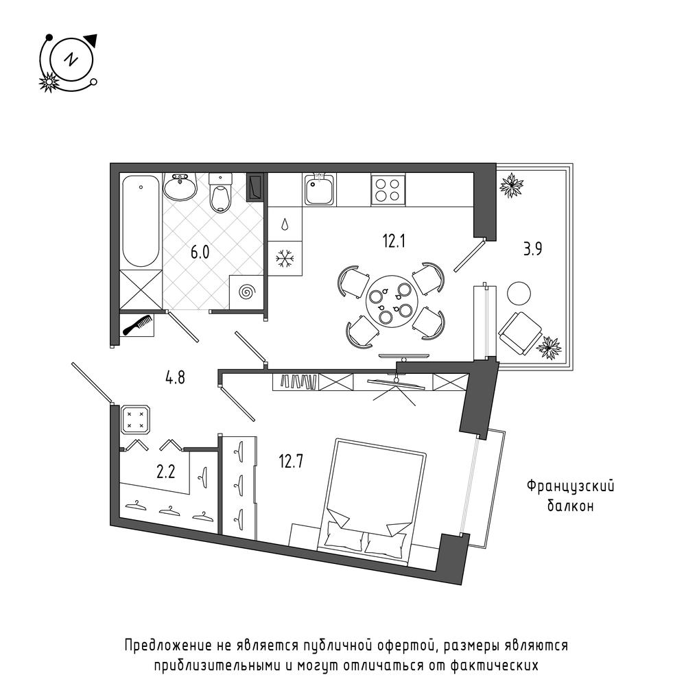 планировка однокомнатной квартиры в  №189