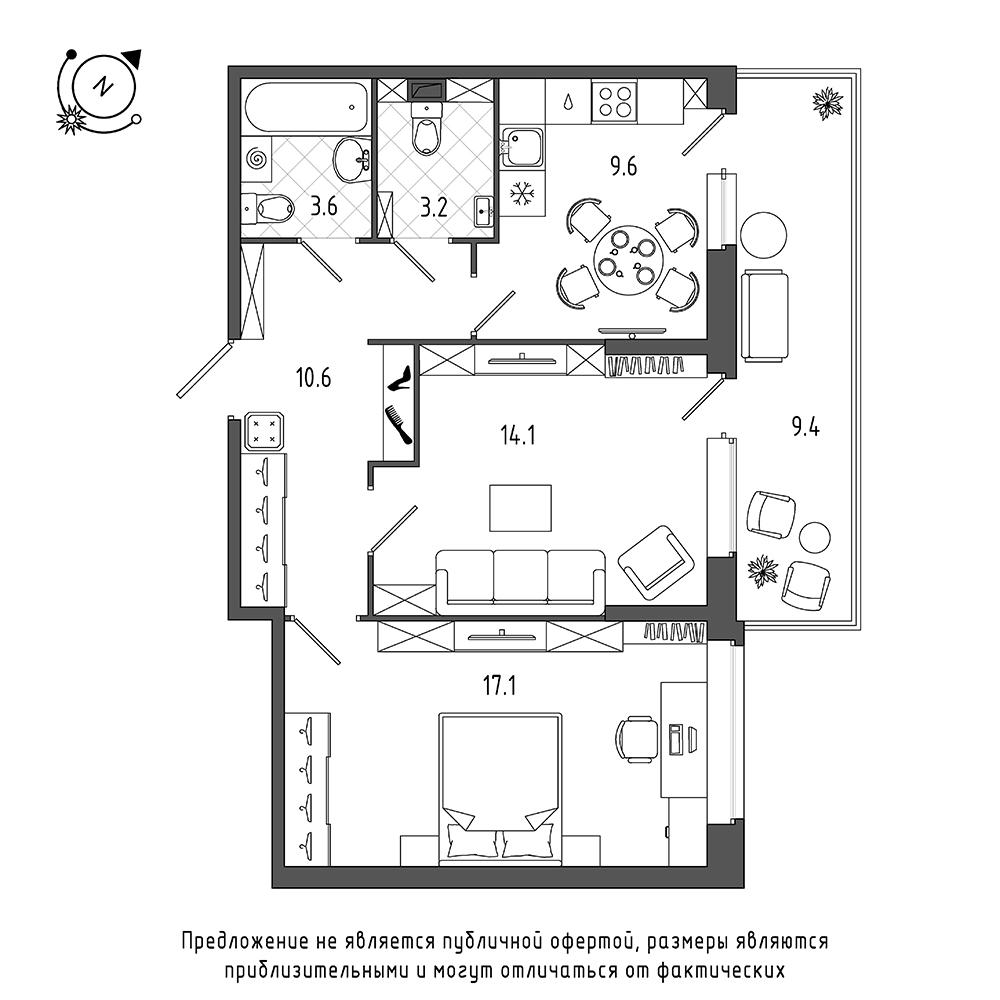 планировка двухкомнатной квартиры в  №309