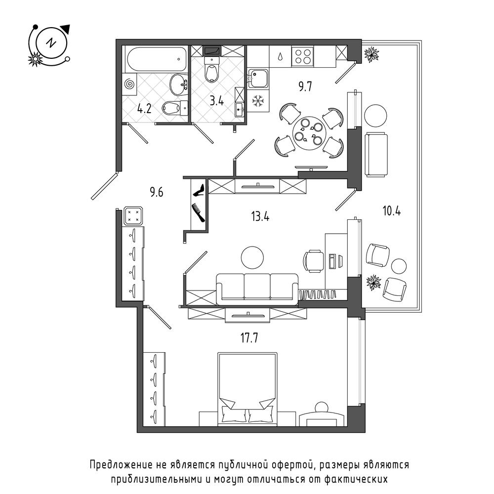 планировка двухкомнатной квартиры в  №451