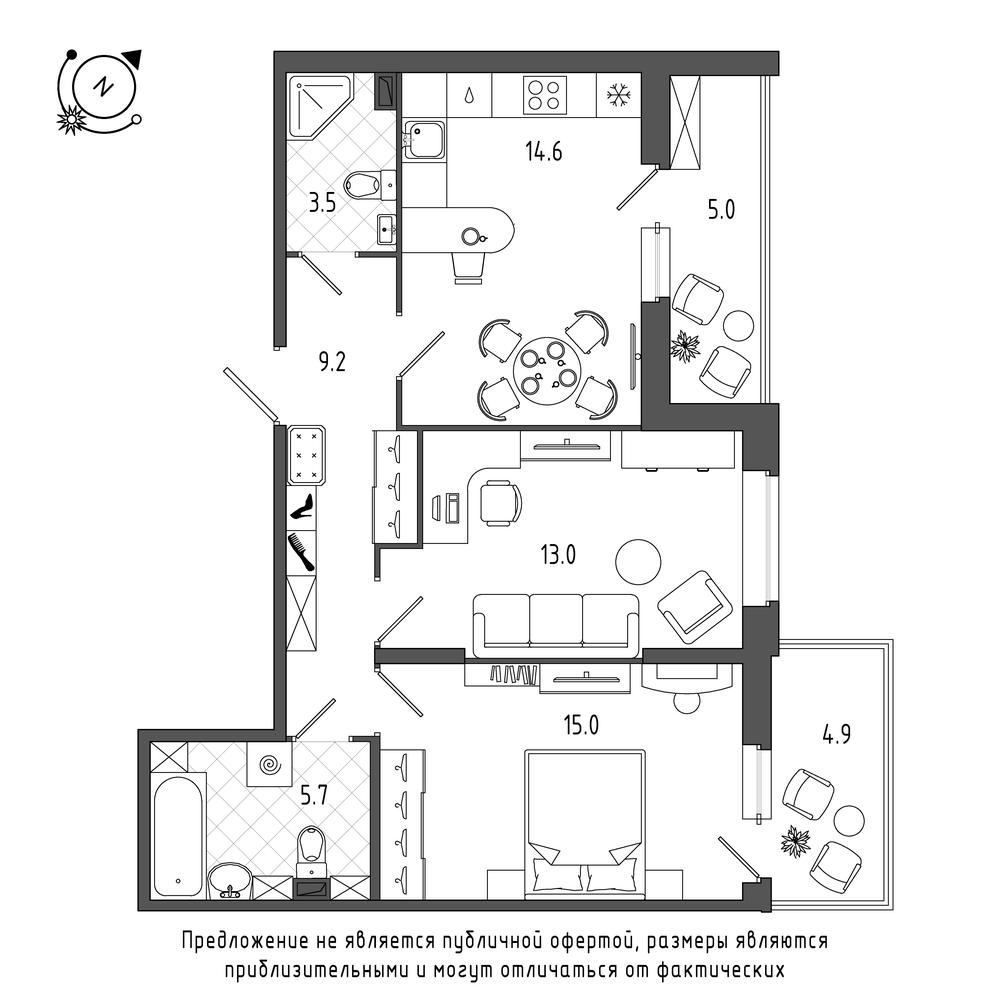 планировка двухкомнатной квартиры в  №452