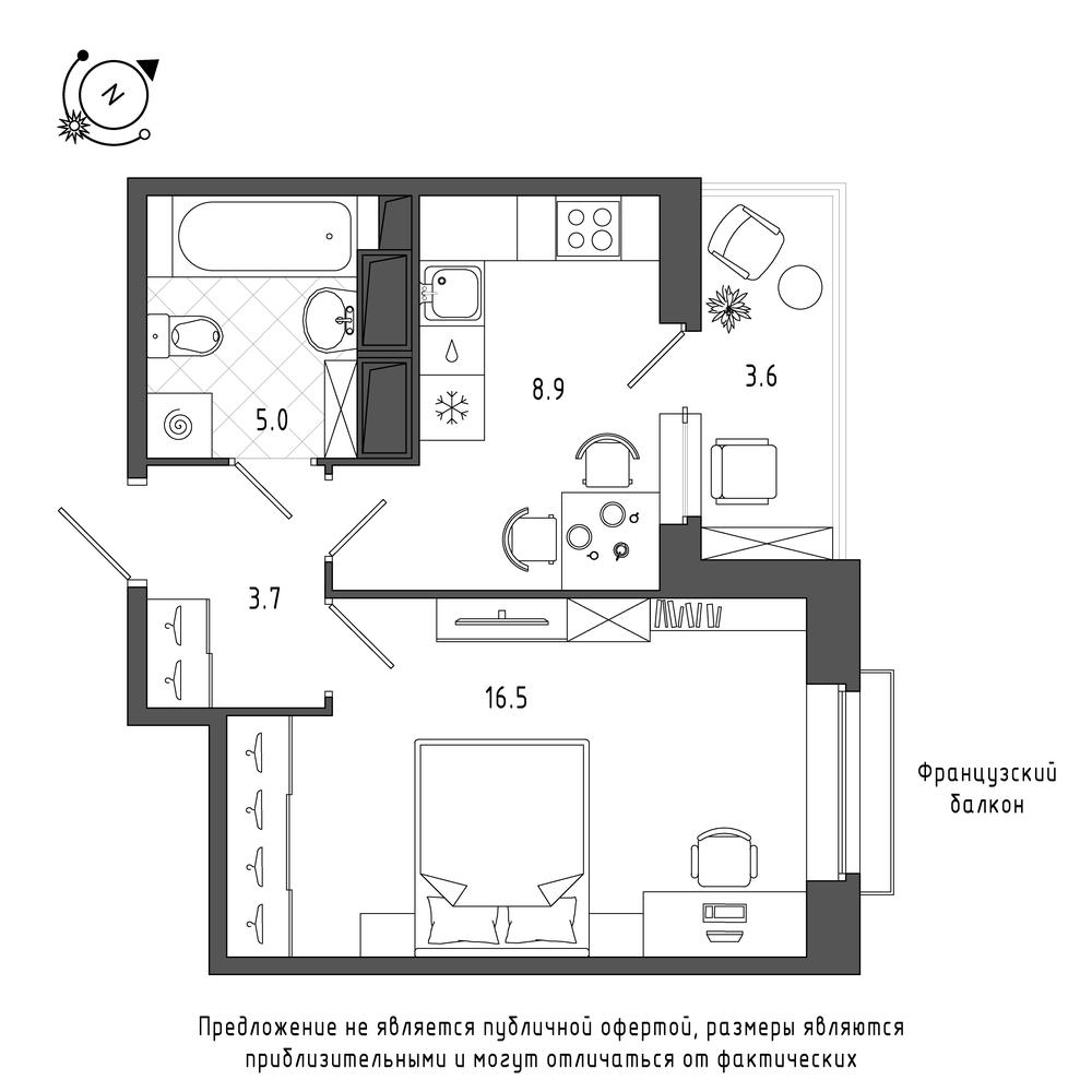 планировка однокомнатной квартиры в  №542