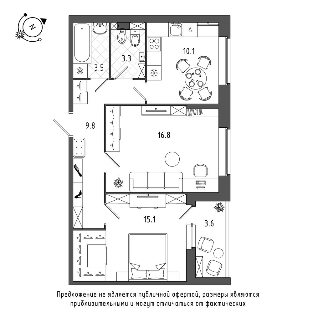 планировка двухкомнатной квартиры в  №580