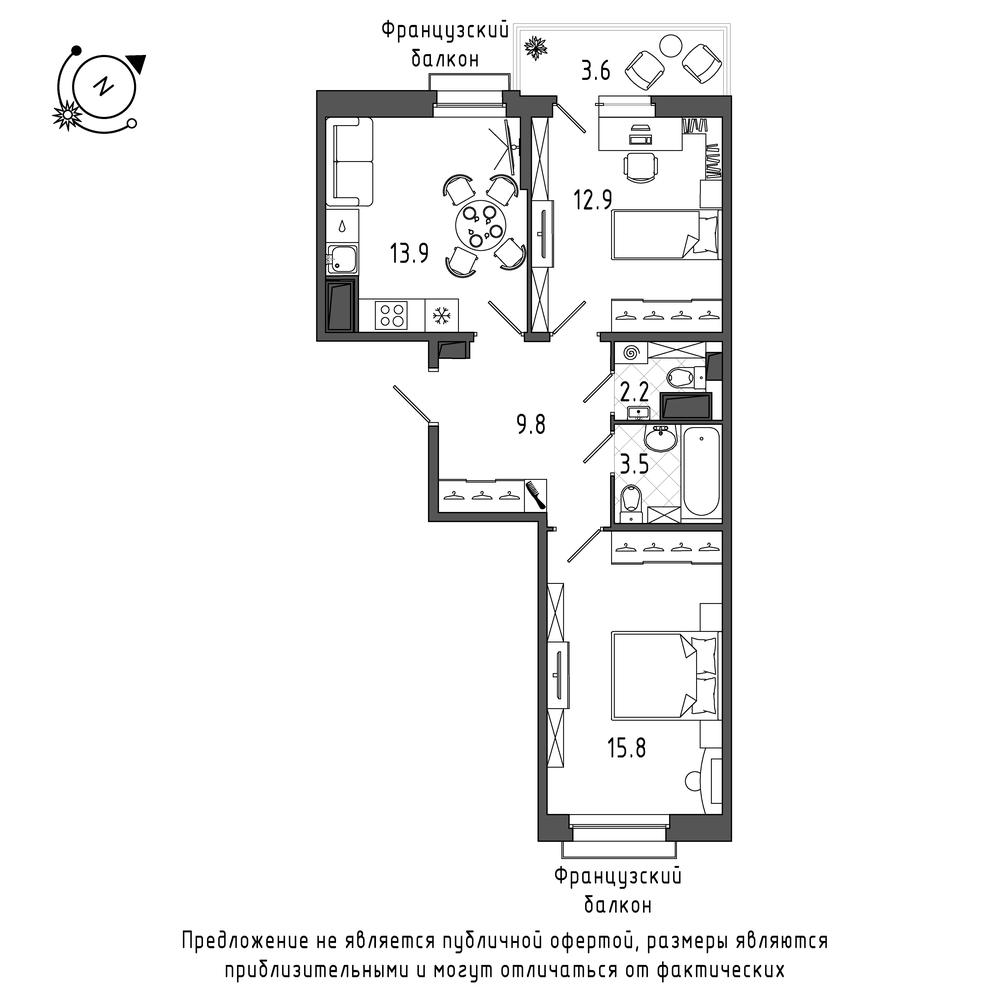 планировка двухкомнатной квартиры в  №683