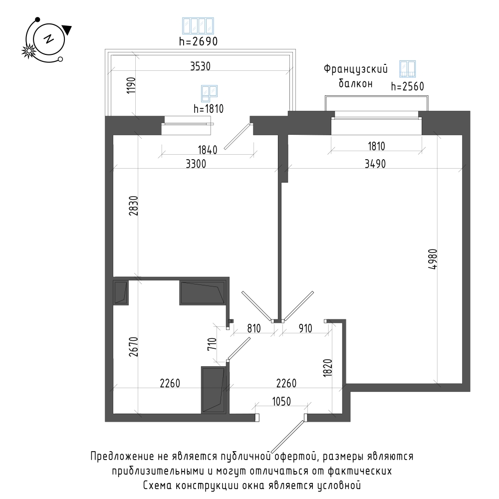 планировка однокомнатной квартиры в Квартал Che №74
