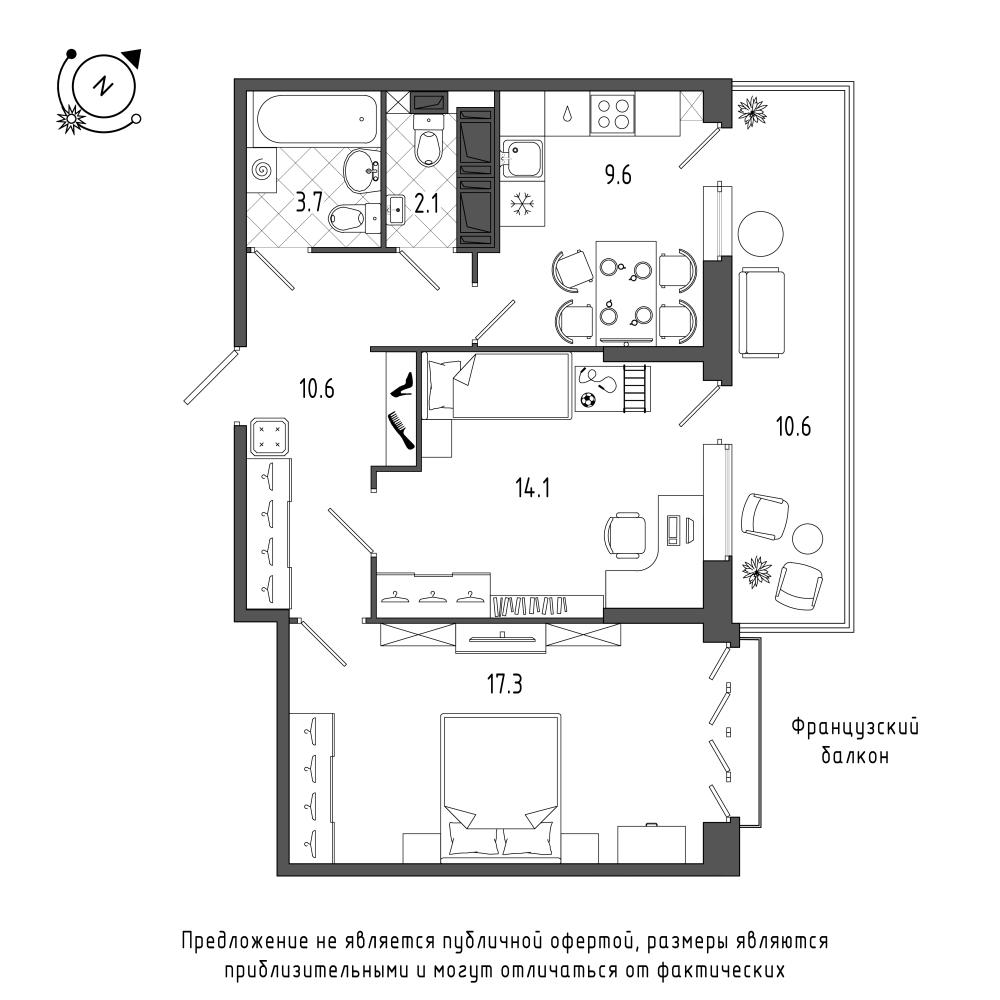 планировка двухкомнатной квартиры в  №385