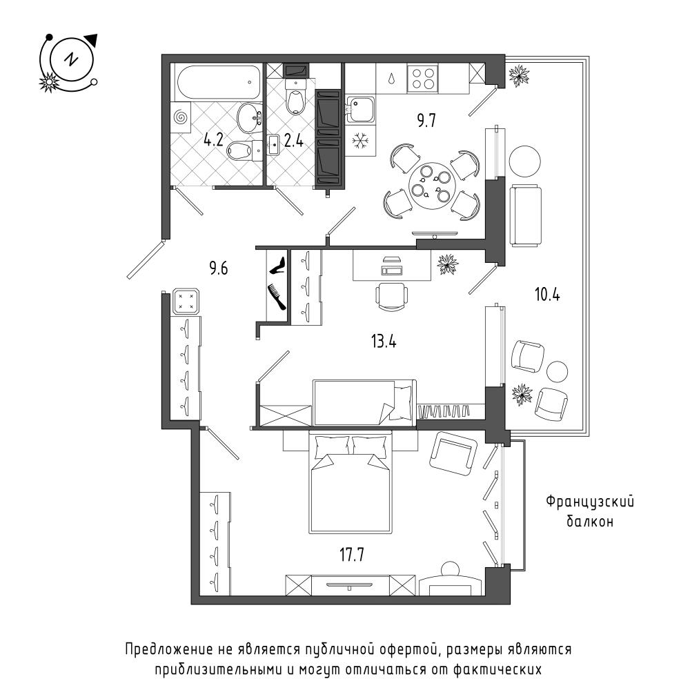 планировка двухкомнатной квартиры в  №456