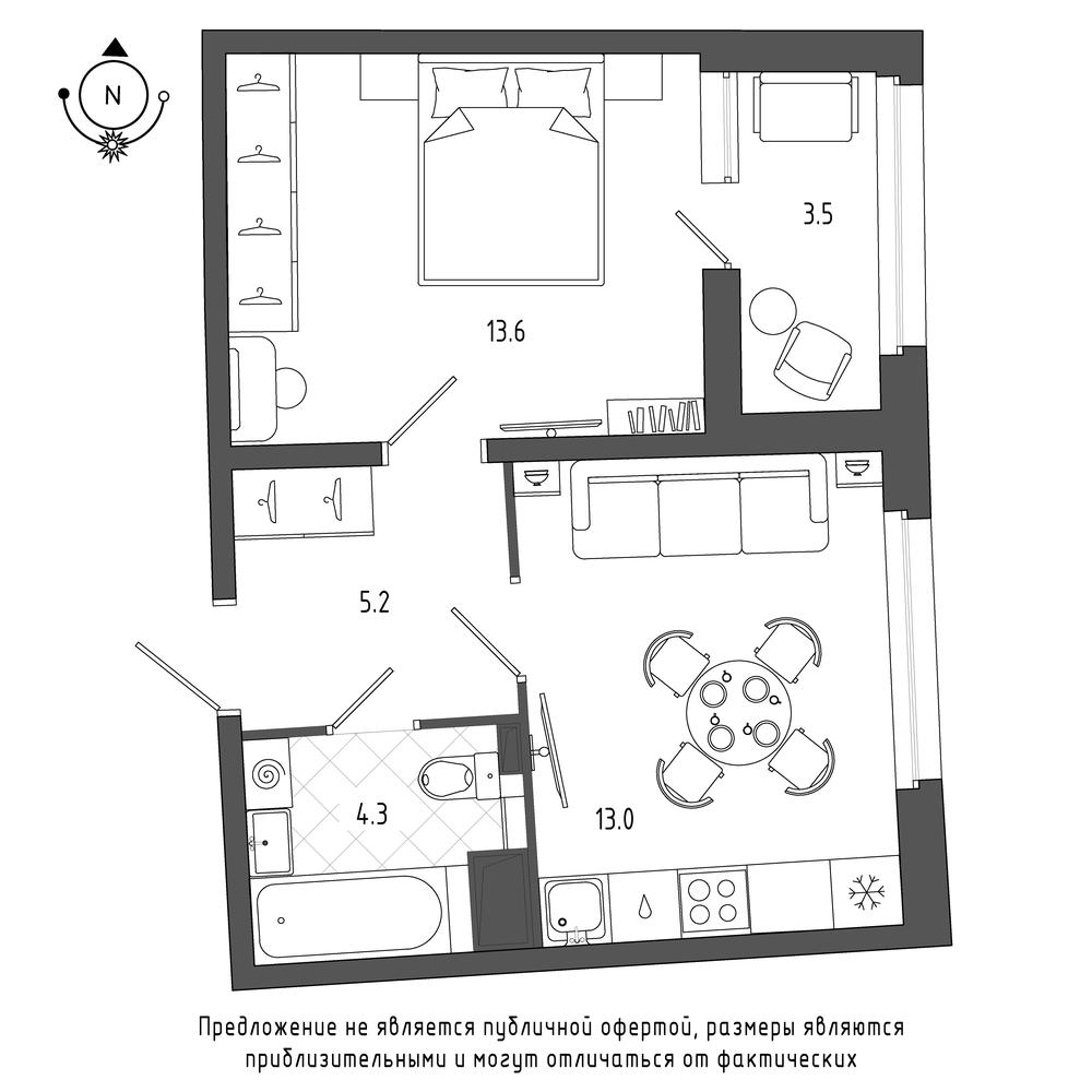 планировка однокомнатной квартиры в  №190