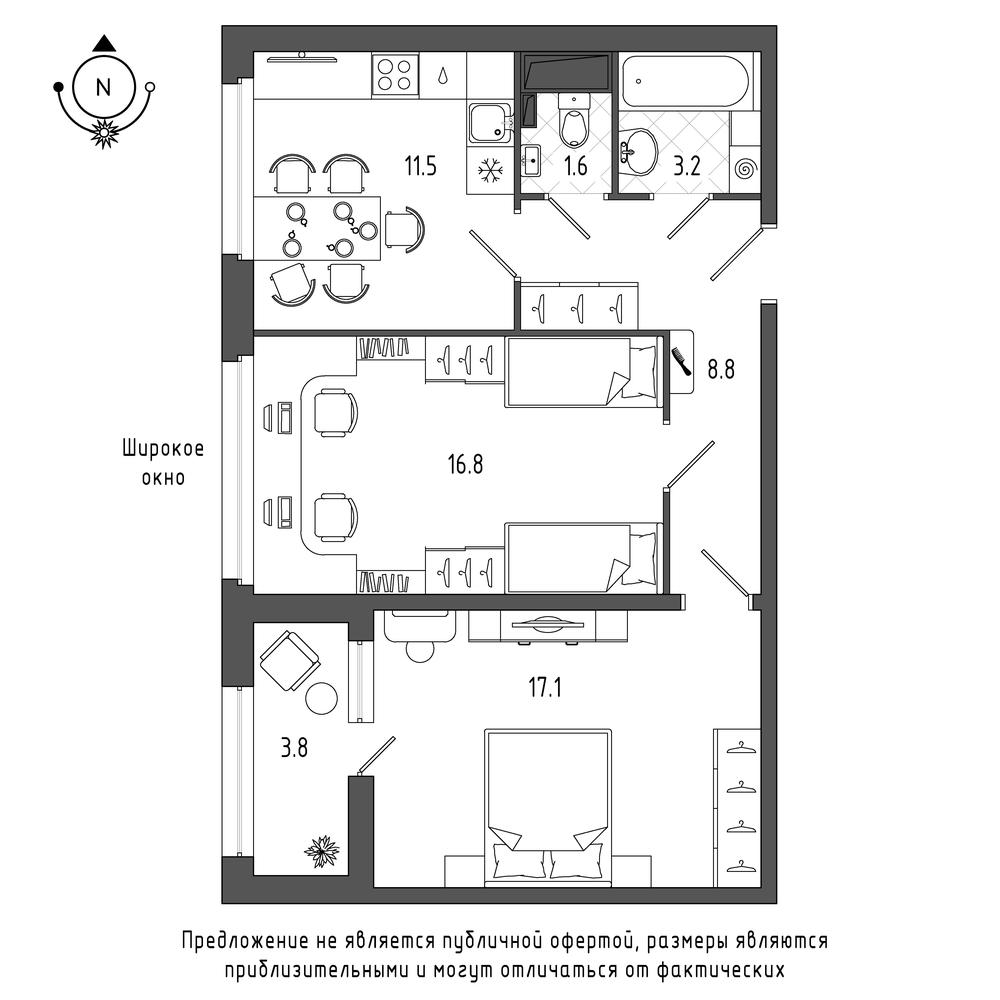 планировка двухкомнатной квартиры в  №55