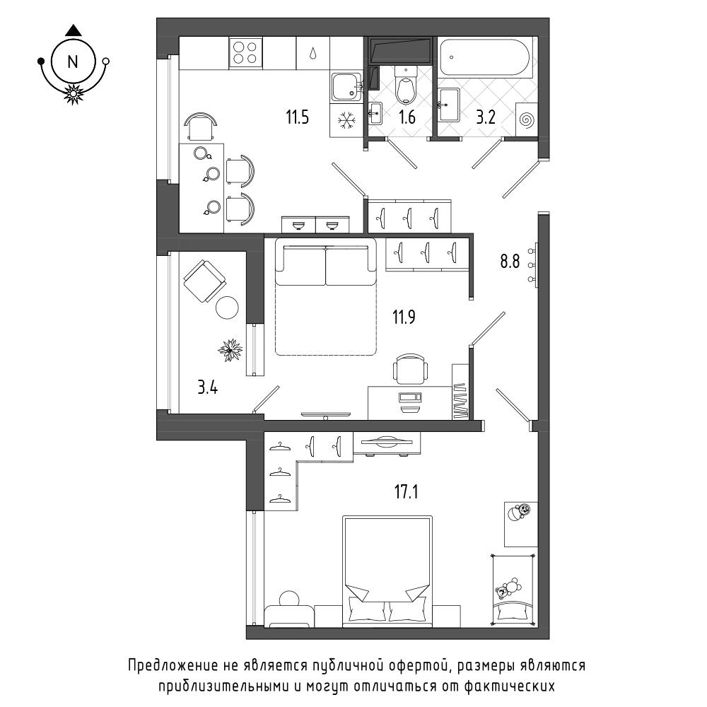 планировка двухкомнатной квартиры в  №96
