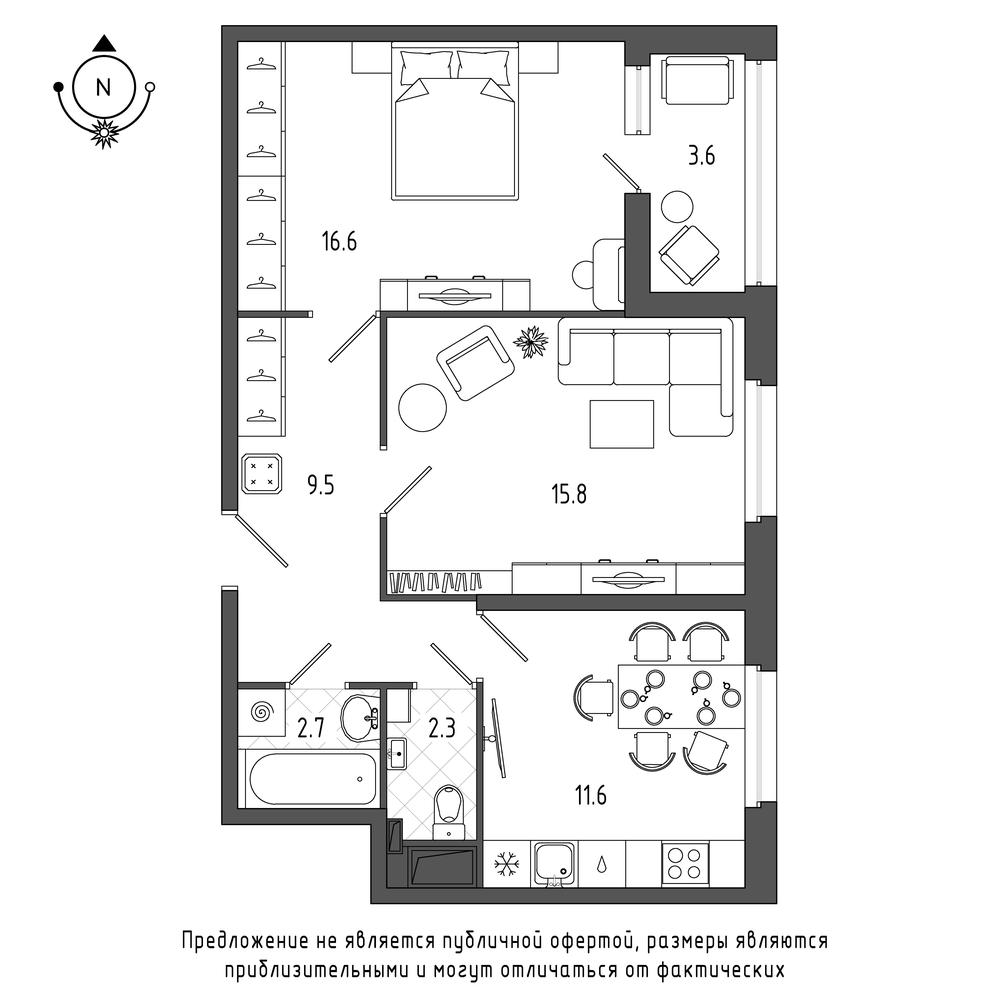 планировка двухкомнатной квартиры в  №53