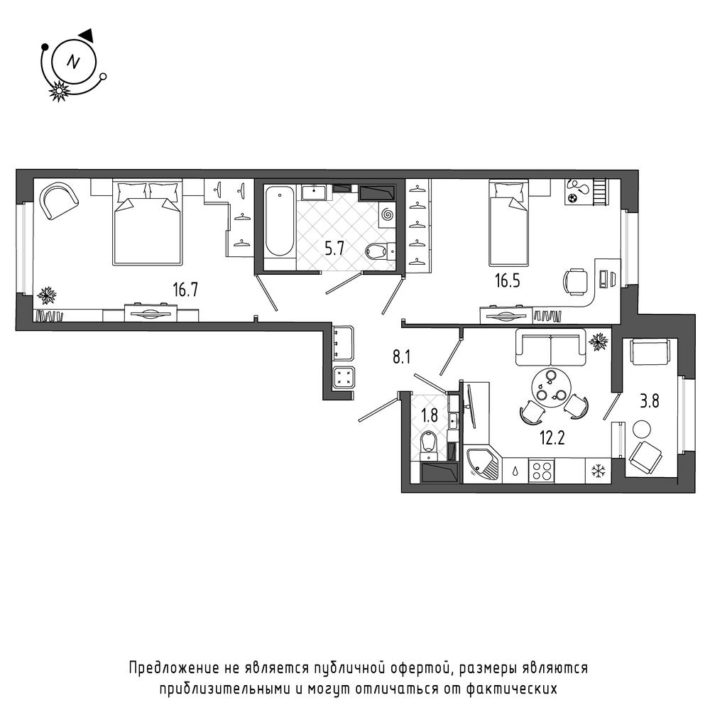 планировка двухкомнатной квартиры в  №293