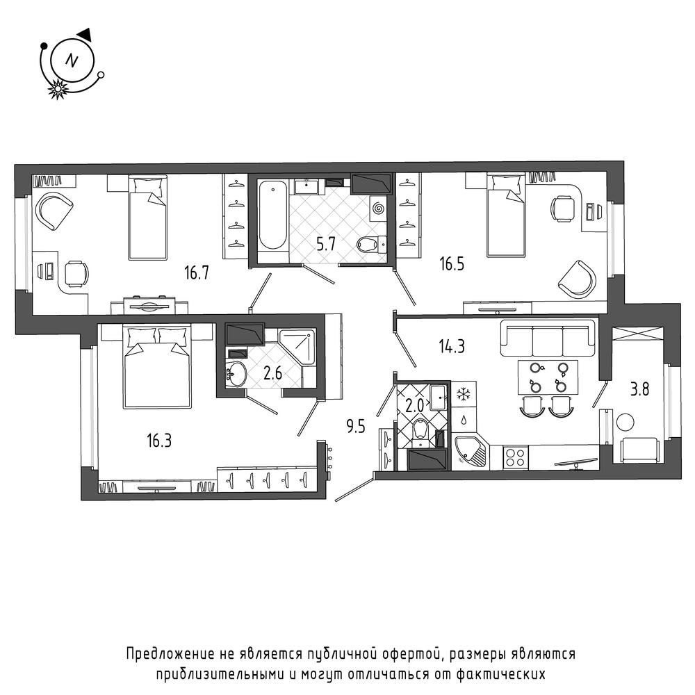планировка трехкомнатной квартиры в  №307