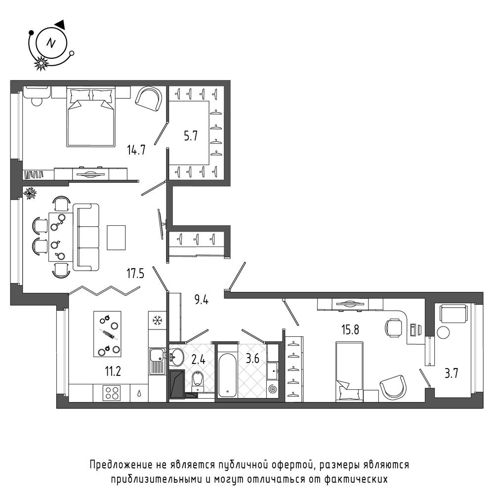 планировка трехкомнатной квартиры в  №308