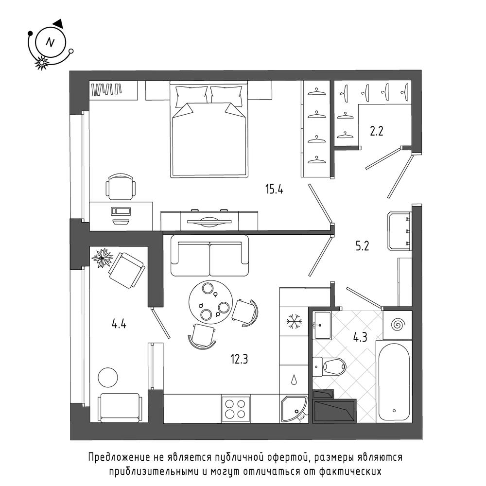 планировка однокомнатной квартиры в ЖК Галактика Pro №316