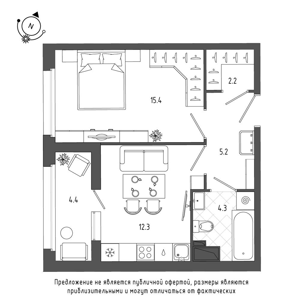 планировка однокомнатной квартиры в  №319