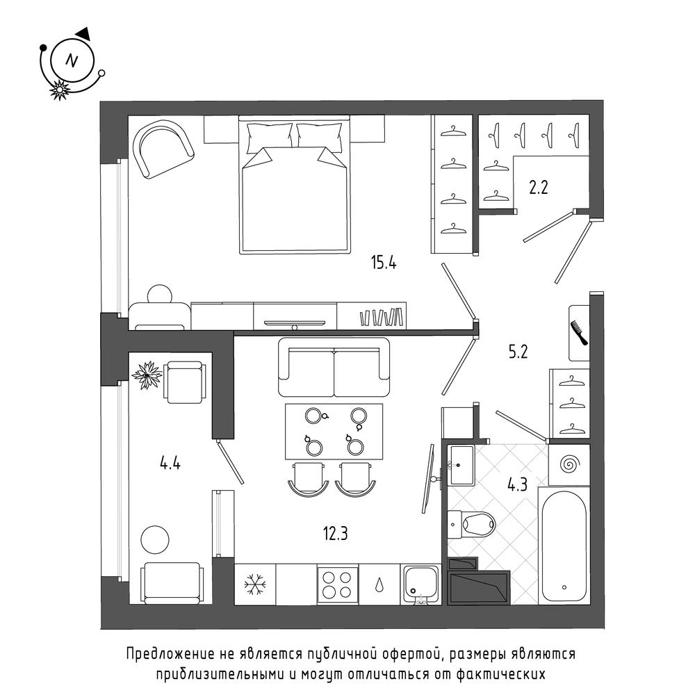 планировка однокомнатной квартиры в  №328